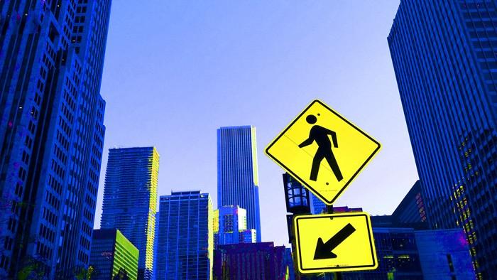 chicago blau gelb straßenschild blue yellow streetsigns skyscrapers hochhaus